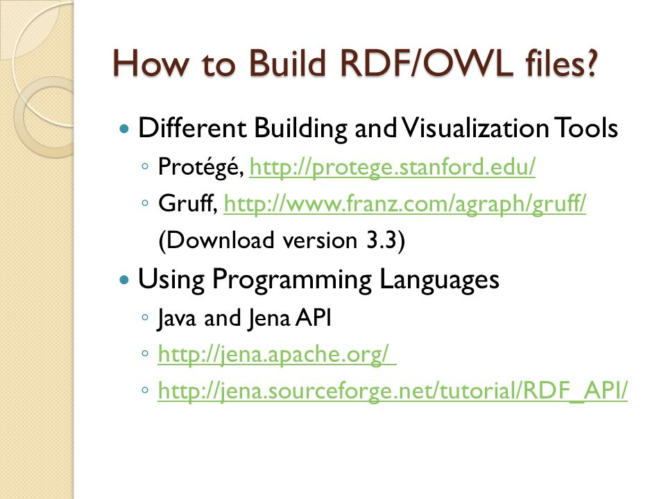 How to Build RDF/OWL files.