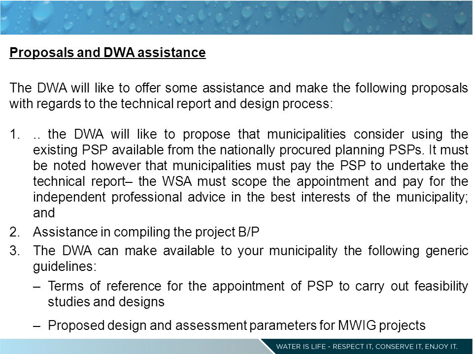 Proposals and DWA assistance The DWA will like to offer some assistance and make the following proposals with regards to the technical report and design process: 1...