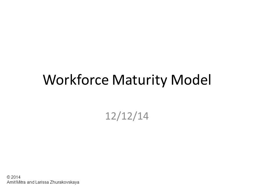 Workforce Maturity Model 12/12/14 © 2014 Amit Mitra and Larissa Zhurakovskaya