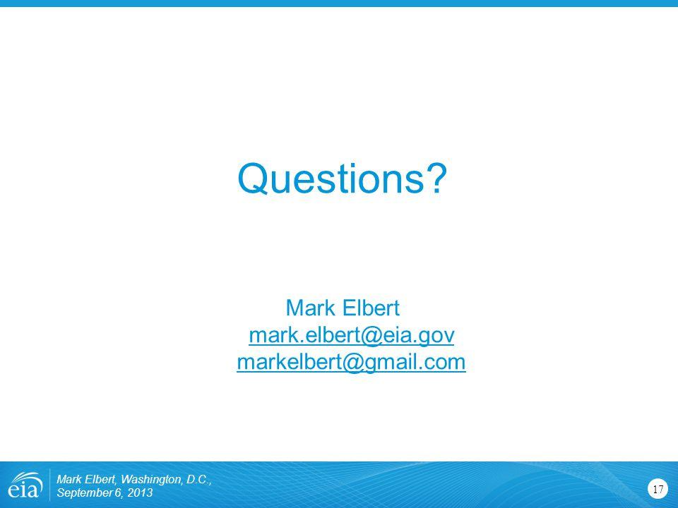 Mark Elbert, Washington, D.C., September 6, 2013 17 Questions.
