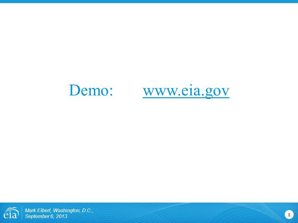 Demo: www.eia.govwww.eia.gov 8 Mark Elbert, Washington, D.C., September 6, 2013