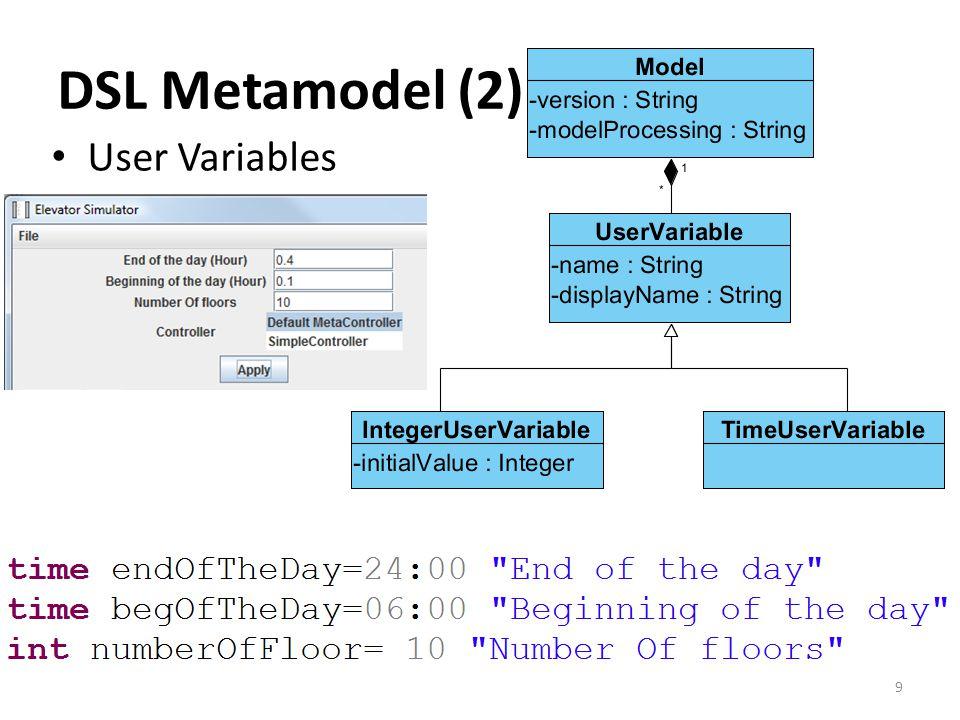 User Variables DSL Metamodel (2) 9