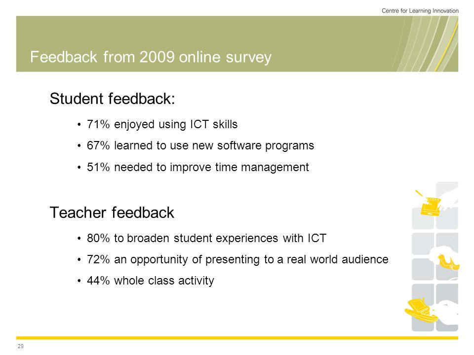 Feedback from 2009 online survey Student feedback: 71% enjoyed using ICT skills 67% learned to use new software programs 51% needed to improve time management Teacher feedback 80% to broaden student experiences with ICT 72% an opportunity of presenting to a real world audience 44% whole class activity 29