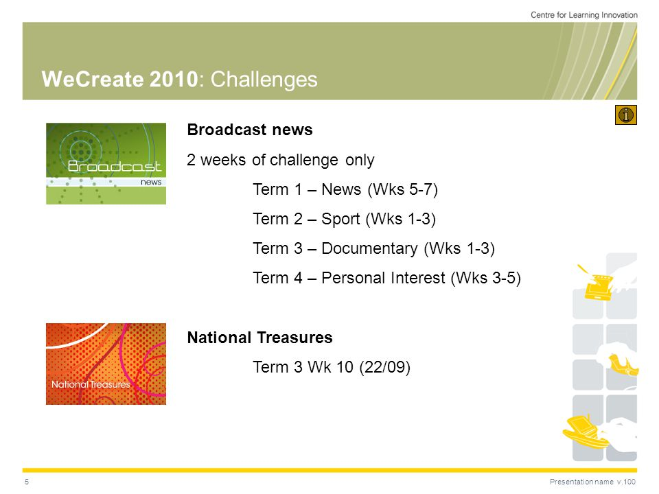 Presentation name v.1005 WeCreate 2010: Challenges Broadcast news 2 weeks of challenge only Term 1 – News (Wks 5-7) Term 2 – Sport (Wks 1-3) Term 3 – Documentary (Wks 1-3) Term 4 – Personal Interest (Wks 3-5) National Treasures Term 3 Wk 10 (22/09)