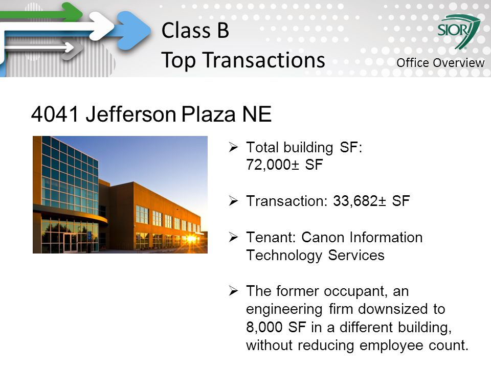 Society of Industrial and Office REALTORS® 4041 Jefferson Plaza NE  Total building SF: 72,000± SF  Transaction: 33,682± SF  Tenant: Canon Information Technology Services  The former occupant, an engineering firm downsized to 8,000 SF in a different building, without reducing employee count.