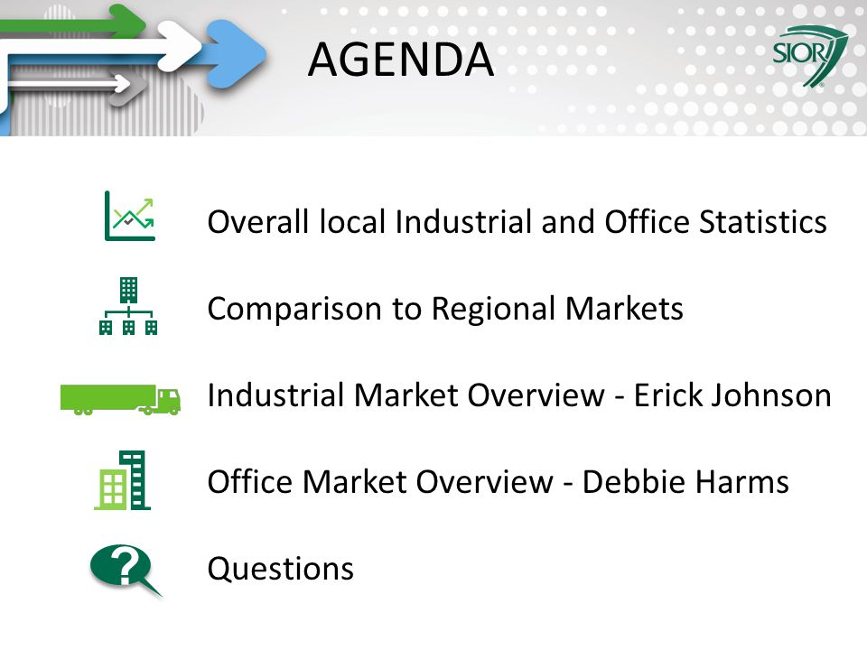 Society of Industrial and Office REALTORS® AGENDA Overall local Industrial and Office Statistics Comparison to Regional Markets Industrial Market Overview - Erick Johnson Office Market Overview - Debbie Harms Questions