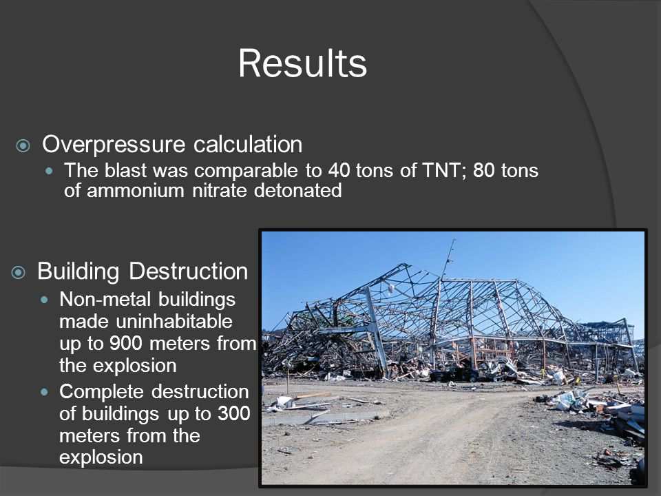  Building Destruction Non-metal buildings made uninhabitable up to 900 meters from the explosion Complete destruction of buildings up to 300 meters from the explosion  Overpressure calculation The blast was comparable to 40 tons of TNT; 80 tons of ammonium nitrate detonated