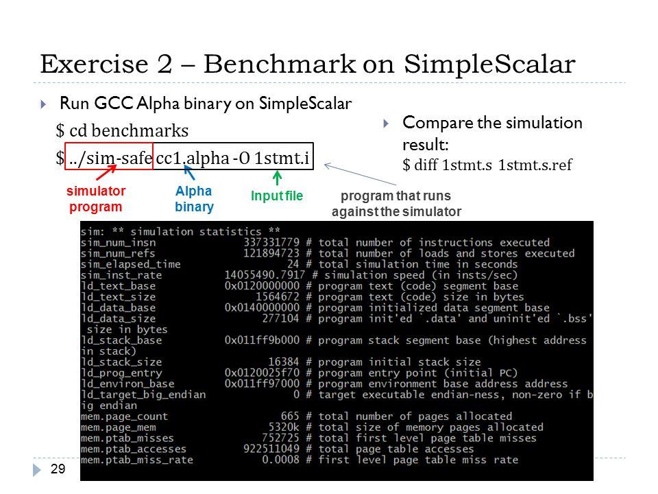 Exercise 2 – Benchmark on SimpleScalar 29  Run GCC Alpha binary on SimpleScalar $ cd benchmarks $../sim-safe cc1.alpha -O 1stmt.i simulator program A