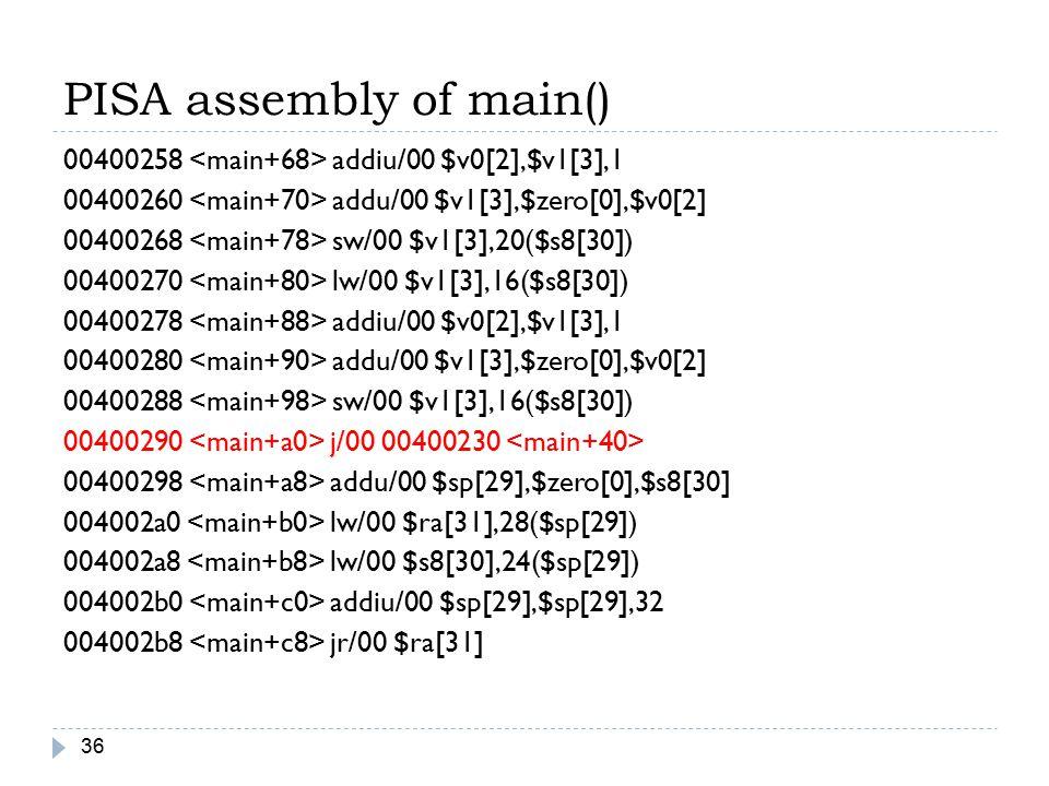 PISA assembly of main() 36 00400258 addiu/00 $v0[2],$v1[3],1 00400260 addu/00 $v1[3],$zero[0],$v0[2] 00400268 sw/00 $v1[3],20($s8[30]) 00400270 lw/00