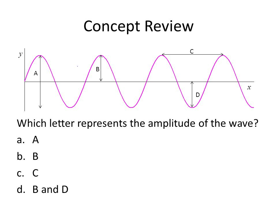 Concept Review Which letter represents the wavelength of the wave.