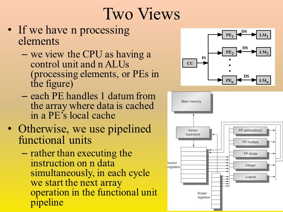 Two Views If we have n processing elements – we view the CPU as having a control unit and n ALUs (processing elements, or PEs in the figure) – each PE handles 1 datum from the array where data is cached in a PE's local cache Otherwise, we use pipelined functional units – rather than executing the instruction on n data simultaneously, in each cycle we start the next array operation in the functional unit pipeline