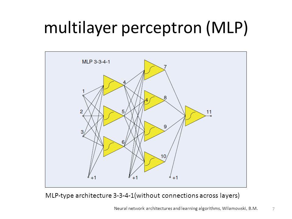 neuron by neuron(NBN) algorithm – bridged multilayer perceptron (BMLP) – fully connected cascade (FCC) 8 Neural network architectures and learning algorithms, Wilamowski, B.M.