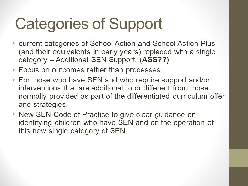 Categories of Support current categories of School Action and School Action Plus (and their equivalents in early years) replaced with a single category – Additional SEN Support.