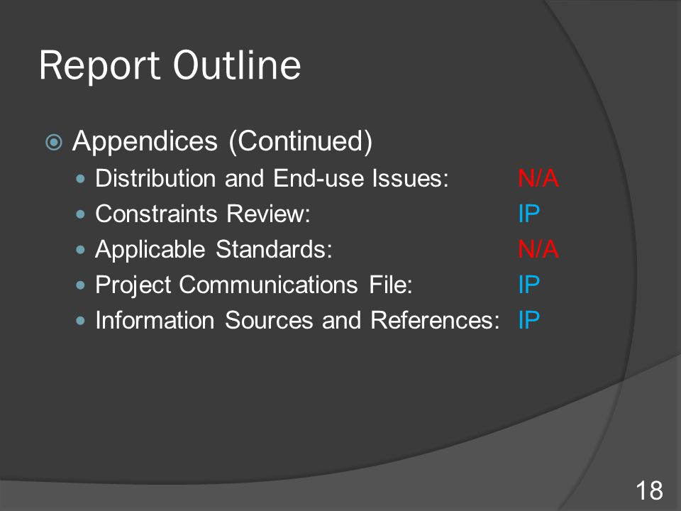 Report Outline  Appendices (Continued) Distribution and End-use Issues:N/A Constraints Review: IP Applicable Standards: N/A Project Communications Fi