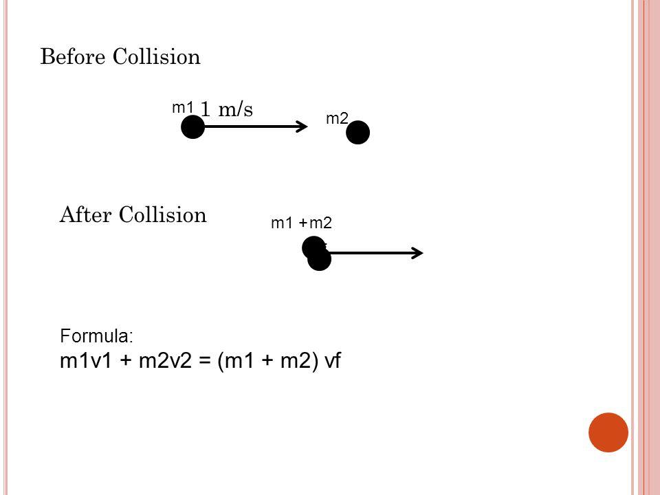 Before Collision 1 m/s After Collision Vf Formula: m1v1 + m2v2 = (m1 + m2) vf m1 m2 m1 +