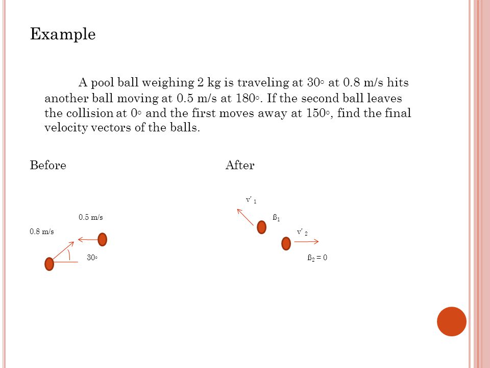 Example A pool ball weighing 2 kg is traveling at 30◦ at 0.8 m/s hits another ball moving at 0.5 m/s at 180◦.