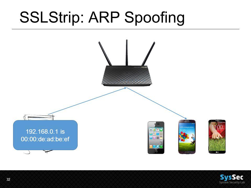 32 SSLStrip: ARP Spoofing 192.168.0.1 is 00:00:de:ad:be:ef