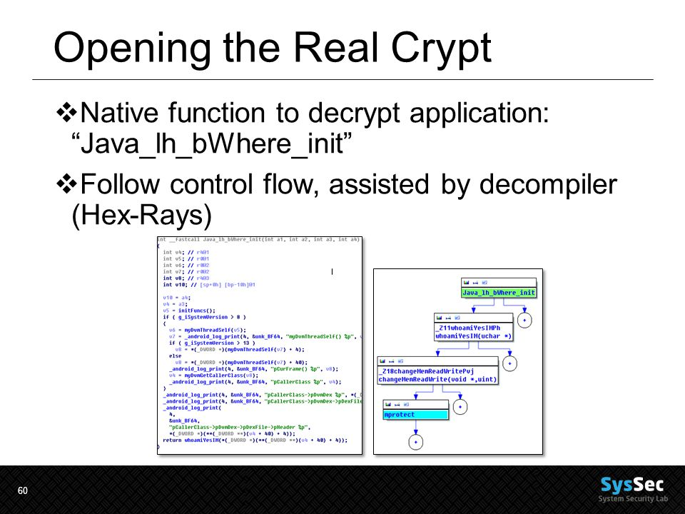60 Opening the Real Crypt  Native function to decrypt application: Java_lh_bWhere_init  Follow control flow, assisted by decompiler (Hex-Rays)