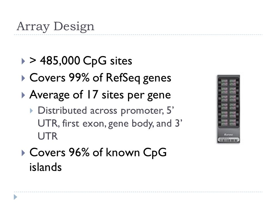 Array Design  > 485,000 CpG sites  Covers 99% of RefSeq genes  Average of 17 sites per gene  Distributed across promoter, 5' UTR, first exon, gene