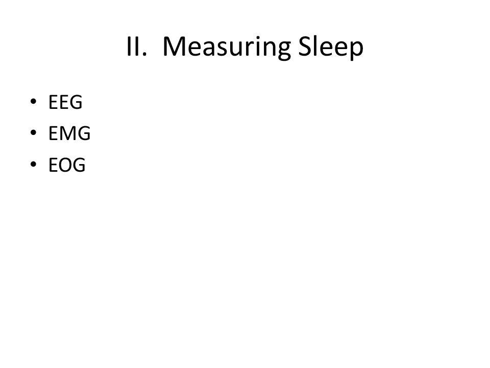 II. Measuring Sleep EEG EMG EOG