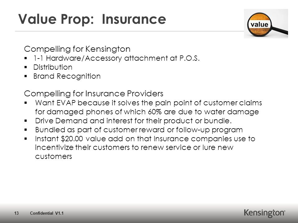13 Confidential V1.1 Value Prop: Insurance Compelling for Kensington  1-1 Hardware/Accessory attachment at P.O.S.  Distribution  Brand Recognition