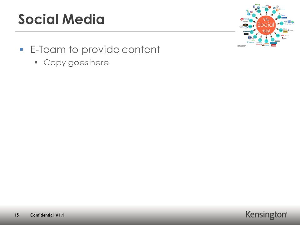 15 Confidential V1.1 Social Media  E-Team to provide content  Copy goes here
