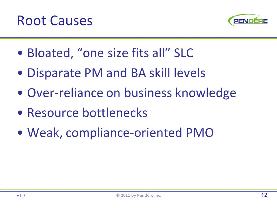 Root Causes Bloated, one size fits all SLC Disparate PM and BA skill levels Over-reliance on business knowledge Resource bottlenecks Weak, compliance-oriented PMO 12 v1.0 © 2011 by Pendére Inc.