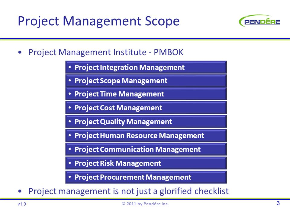 Project Management Scope Project Management Institute - PMBOK Project management is not just a glorified checklist 3 v1.0 © 2011 by Pendére Inc.