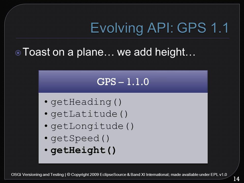 GPS – 1.1.0 getHeading() getLatitude() getLongitude() getSpeed() getHeight() 14 OSGi Versioning and Testing | © Copyright 2009 EclipseSource & Band XI International; made available under EPL v1.0  Toast on a plane… we add height…
