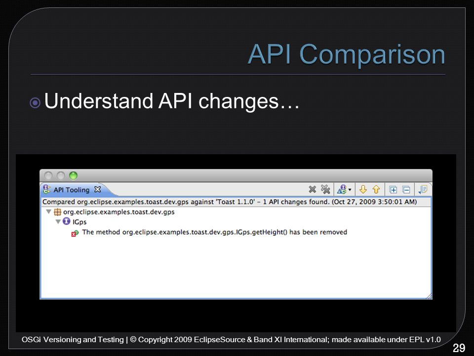 29 OSGi Versioning and Testing | © Copyright 2009 EclipseSource & Band XI International; made available under EPL v1.0  Understand API changes…