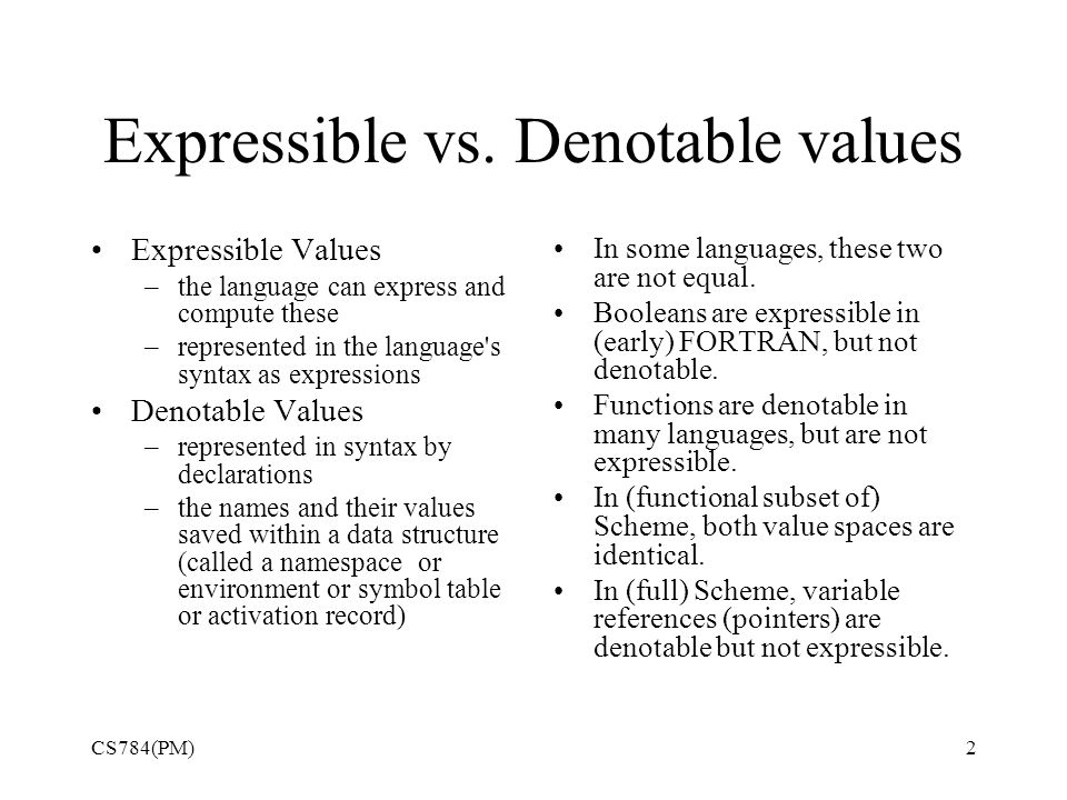 Expressible vs.