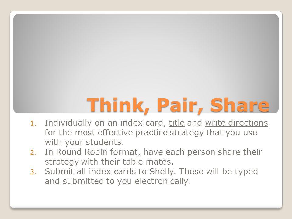 Think, Pair, Share 1.