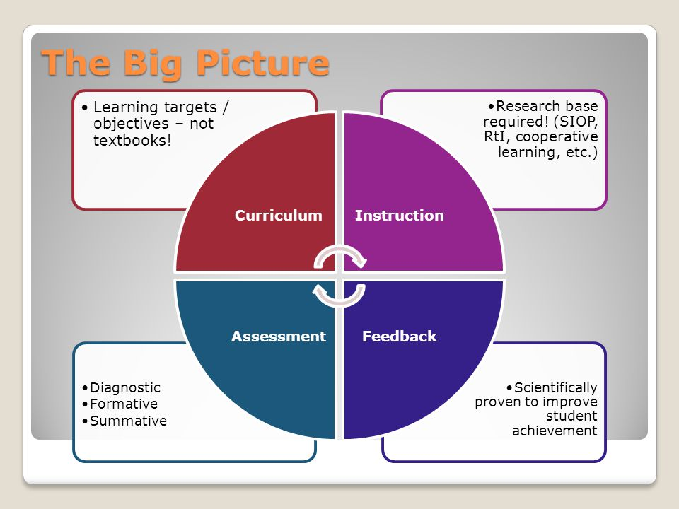 The Big Picture Scientifically proven to improve student achievement Diagnostic Formative Summative Research base required.