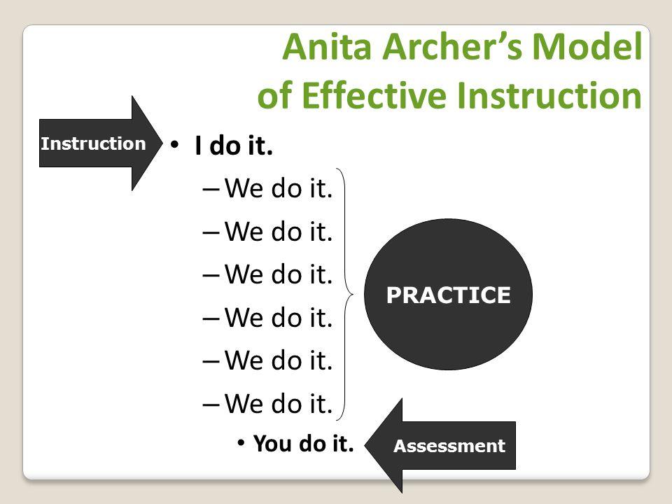 Anita Archer's Model of Effective Instruction I do it.
