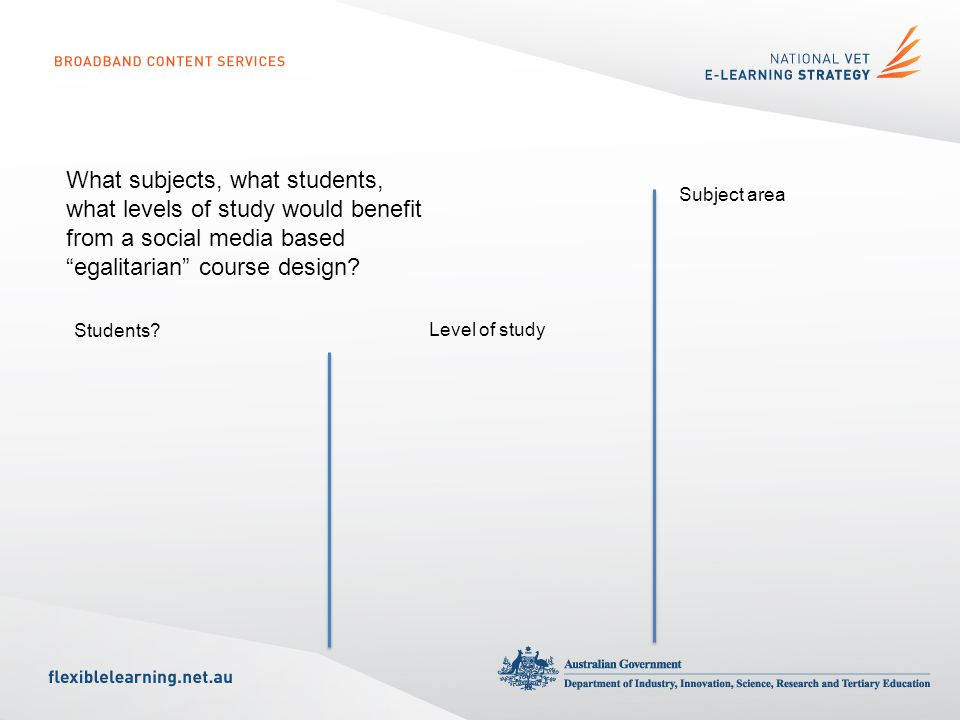 What subjects, what students, what levels of study would benefit from a social media based egalitarian course design.