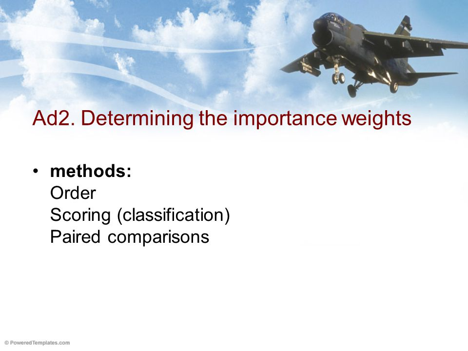 Order Method to determine the importance of the criteria weights Importance of the criteria using two experts E1, E2.