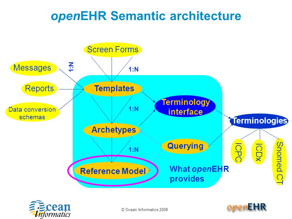 © Ocean Informatics 2008 What openEHR provides openEHR Semantic architecture 1:N Templates 1:N Reference Model Archetypes 1:N Terminology interface Messages Querying Screen Forms 1:N Reports Data conversion schemas Terminologies Snomed CT ICDx ICPC