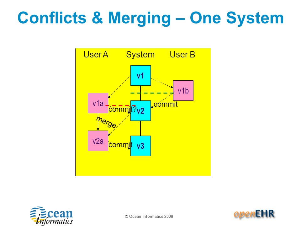© Ocean Informatics 2008 User ASystemUser B Conflicts & Merging – One System v1 commit v2 v1b v1a commit.