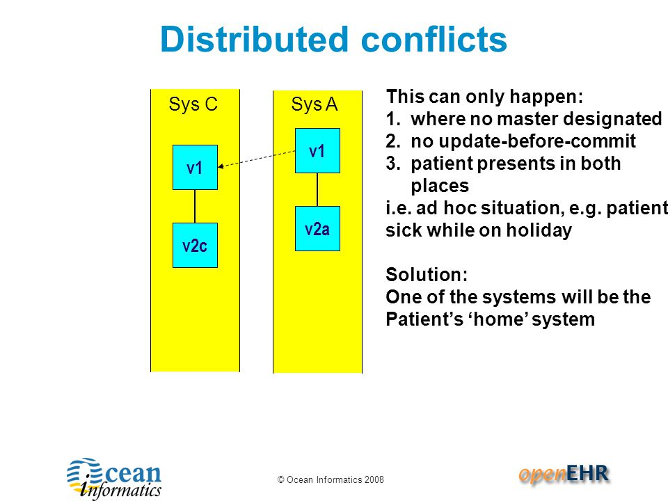 © Ocean Informatics 2008 Distributed conflicts Sys A v1 v2a Sys C v1 This can only happen: 1.where no master designated 2.no update-before-commit 3.patient presents in both places i.e.