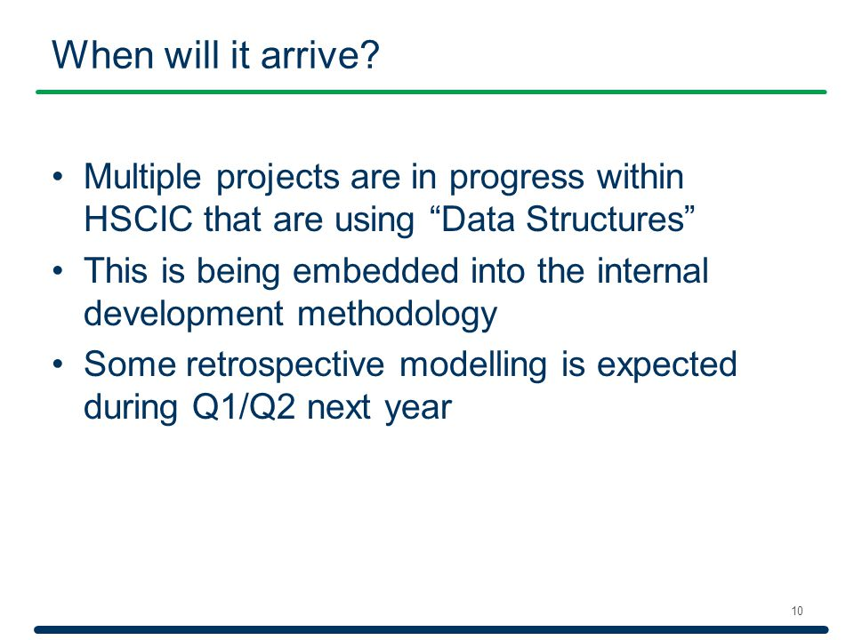 """When will it arrive? 10 Multiple projects are in progress within HSCIC that are using """"Data Structures"""" This is being embedded into the internal devel"""