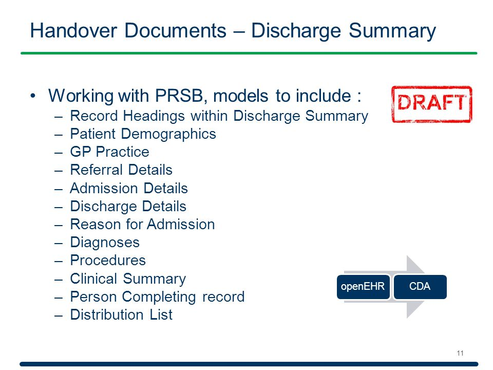 Handover Documents – Discharge Summary 11 Working with PRSB, models to include : –Record Headings within Discharge Summary –Patient Demographics –GP P