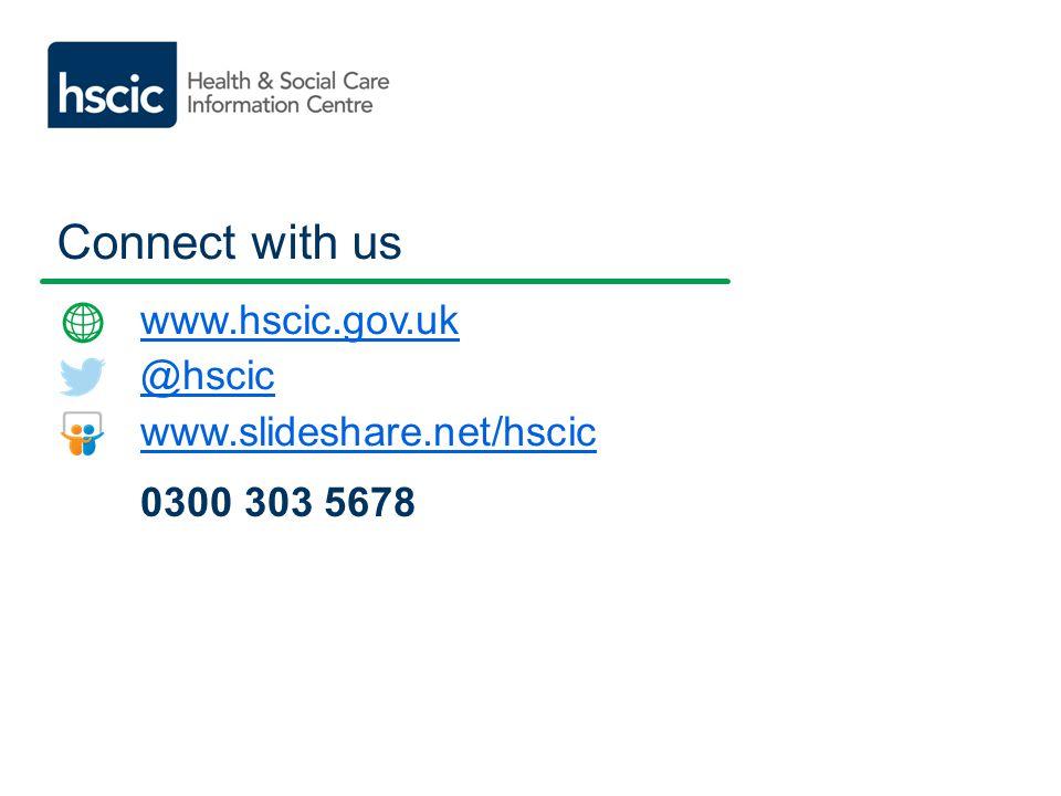 Connect with us www.hscic.gov.uk @hscic www.slideshare.net/hscic 0300 303 5678