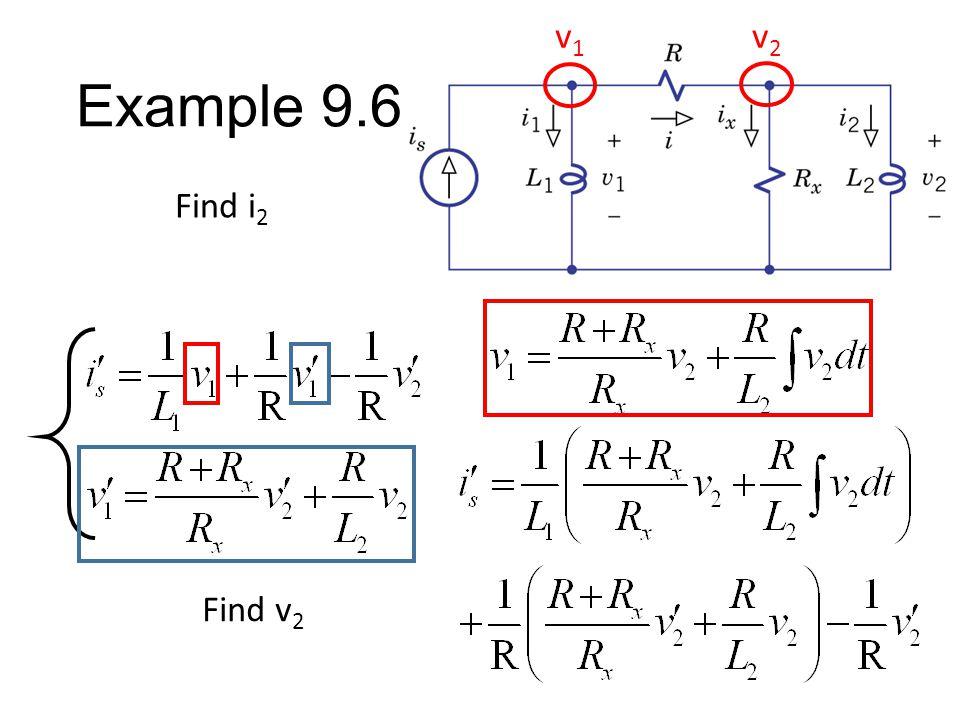 Example 9.6 Find i 2 v1v1 v2v2 Find v 2