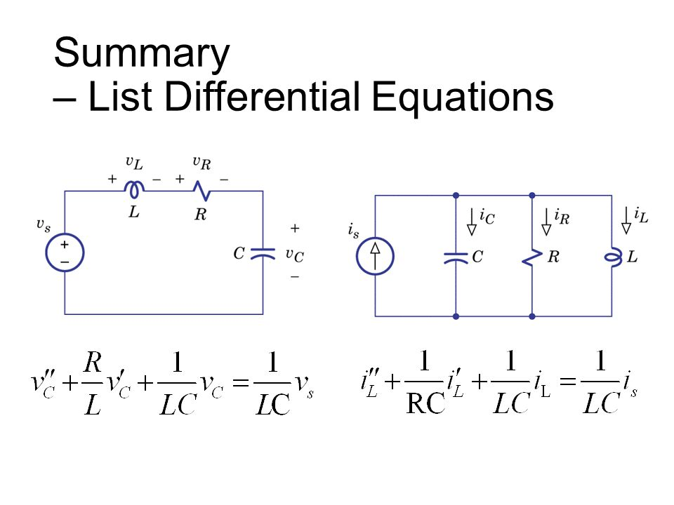 Summary – List Differential Equations