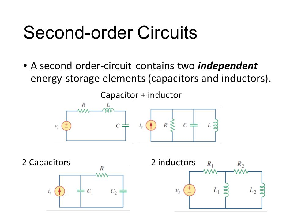 Second-order Circuits A second order-circuit contains two independent energy-storage elements (capacitors and inductors).