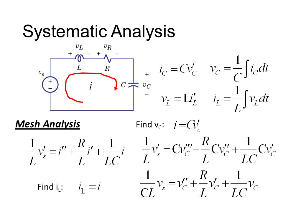 Systematic Analysis Mesh Analysis Find i L : Find v C :