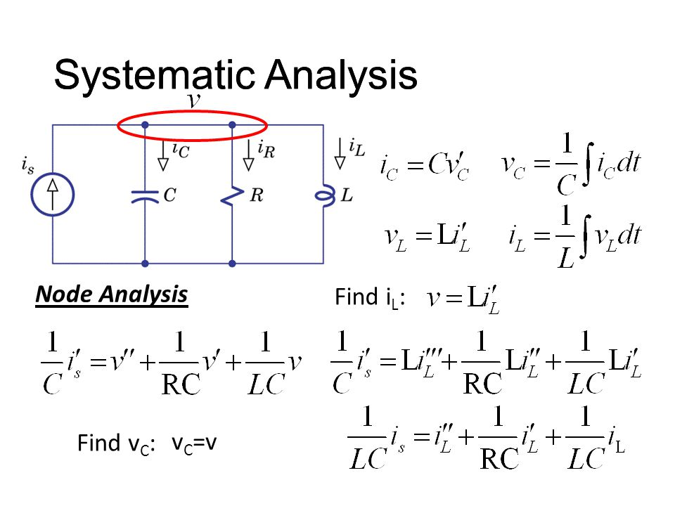 Systematic Analysis Find v C : Node Analysis Systematic Analysis v C =v Find i L :