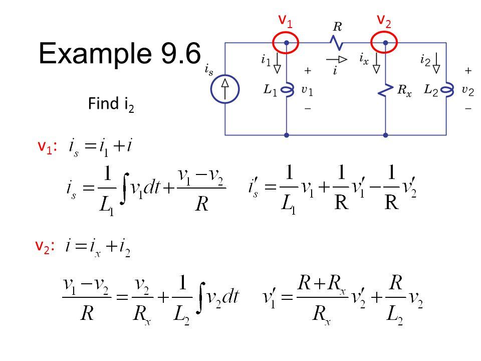 Example 9.6 Find i 2 v1v1 v2v2 v1:v1: v2:v2: