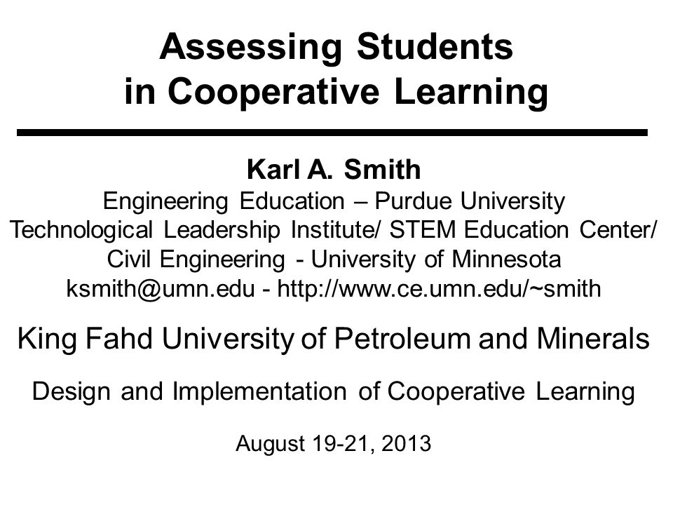 Assessing Students in Cooperative Learning Karl A.