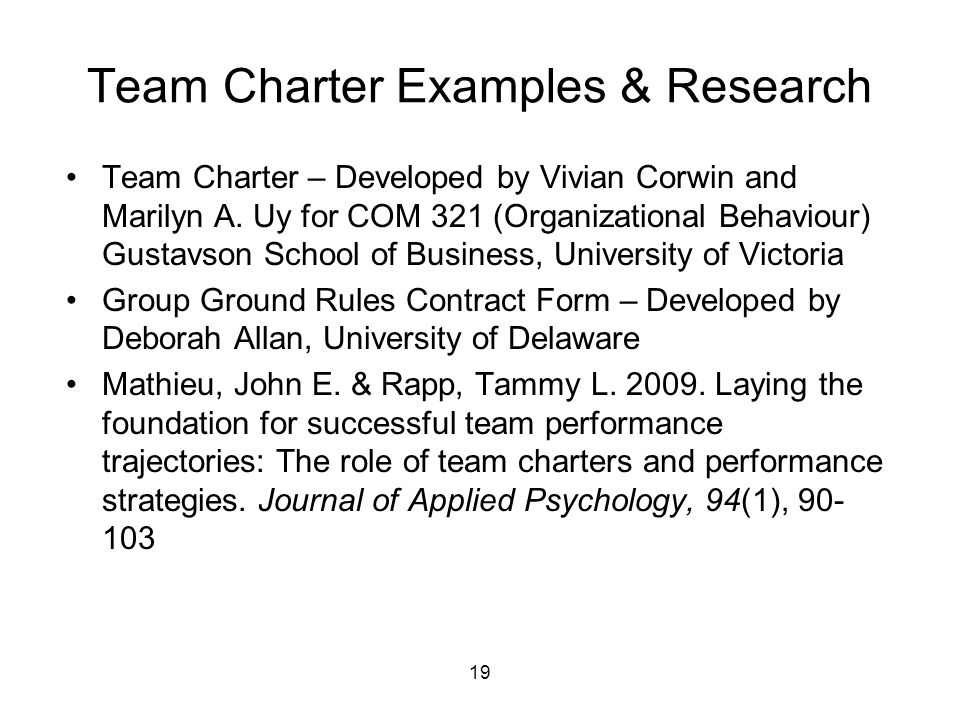 Team Charter Examples & Research Team Charter – Developed by Vivian Corwin and Marilyn A.